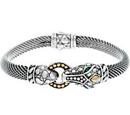As Is JAI Sterling Silver & 14K Figural Mesh Bracelet - J350613