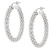 Italian Silver Sterling Popcorn Hoop Earrings - J355313