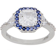 Diamonique Asscher Cut Ring with Color Halo, Platinum Clad - J357513