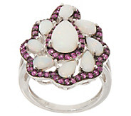Opal and Pink Sapphire Ring, 0.95 cttw, Sterling Silver - J357613