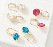 Joan Rivers Set of 3 Earrings with Pave Shepherds Hook - J359213