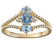 Judith Ripka 14K Gold Aquamarine Split Shank Ring - J385313