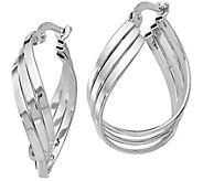 14K Gold Twisted Hoop Earrings - J385613
