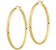 14K Gold 2 Satin Round Hoop Earrings - J385713