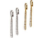 Judith Ripka Sterling or 14K Clad Graduated Diamonique Line Earrings - J62213