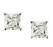 Diamonique 5.00 cttw Princess Cut Stud Earrings , Platinum Cla - J112314