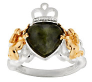Connemara Marble Sterling Silver Angel Claddagh Ring - J275014