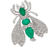 5.00 cttw Emerald & White Zircon Bee Pin, Sterling - J354014