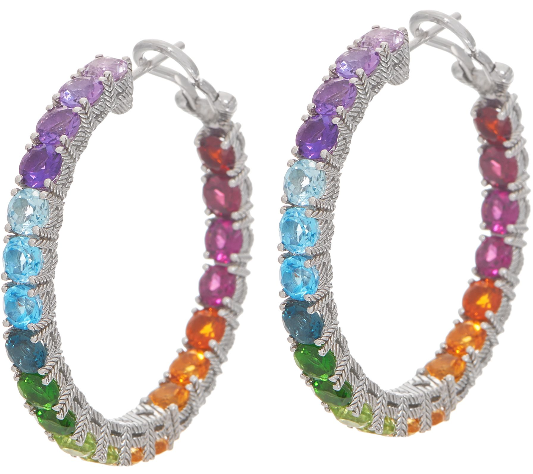 59c52d60a4d74 Judith Ripka Sterling Silver Rainbow Gem Hoop Earrings, 11.00cttw — QVC.com