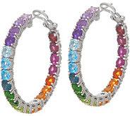 Judith Ripka Sterling Silver Rainbow Gem Hoop Earrings, 11.00cttw - J356814