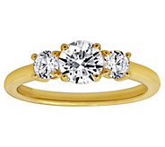 Diamonique 1.50 cttw Three-Stone Round-Cut Ring, 14K Gold - J380514