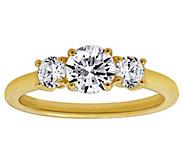 Diamonique 1.50 cttw Three-Stone Round-Cut Ring, 14K Gold - J380514