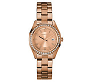 Caravelle Womens Stainless Crystal Petite Bracelet Watch - J383314