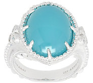 Judith Ripka Sterling Paraiba Agate & Diamonique Ring - J390814