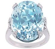 14K Gold 28.75 cttw Blue Topaz & 1/2 cttw Diamond Ring - J392514