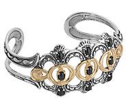 American West Sterling Brass Luna Black Agate Cuff Bracelet - J392614