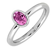 Simply Stacks Sterling & Oval Pink Tourmaline Ring - J299415