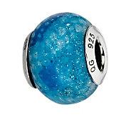Prerogatives Blue Python Glitter Italian MuranoGlass Bead - J300215