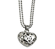 Stainless Steel Puffed Heart Pendant with 23 Beaded Chain - J306715