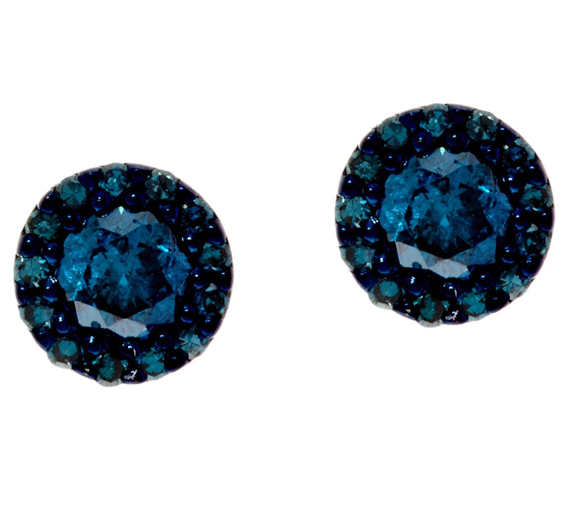 Blue Diamond Stud Earrings Sterling 1 2 Cttw By Affinity Page Qvc