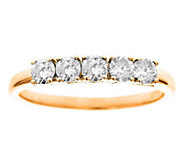 5-Stone Band Diamond Ring, 14K Yellow Gold 1/2ct by Affinity - J336115