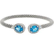 Italian Silver 6.20 cttw Blue Topaz Cuff, Sterling - J346215