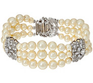Grace Kelly Collection 3 Strand Simulated Pearl Bracelet - J346315
