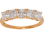 Diamonique Five Stone Princess Cut Band Ring, 14k Gold - J347315