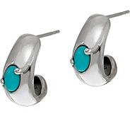 Carolyn Pollack Sleeping Beauty Turquoise Sterling Huggie Hoop Earrings - J347515