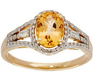 Oval Imperial Topaz & Baguette Diamond Ring 14K, 1.15 cttw - J350415