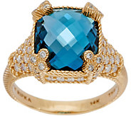 Judith Ripka 14K Gold London Blue Topaz & Diamond Monaco Ring - J350515
