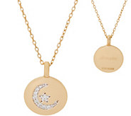 Diamonique Charmbar Motif Pendant by Alex Woo, 14K Gold Clad - J355715