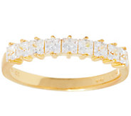 Diamonique Princess Cut 9-Stone Ring, Sterling or 14K Gold Plated - J355915