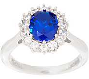 Diamonique Royal Collection Oval Halo Ring, Sterling Silver - J356115