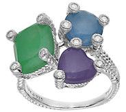 Judith Ripka Sterling Jade and Diamonique Ring - J385415
