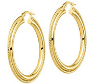 Italian Gold 1-1/2 Round Rope-Textured Hoop Earrings, 14K - J385715