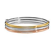 Italian Silver Tri-Color Bangle, 10.1g - J386815
