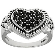 Elyse Ryan Sterling Silver Black Spinel Heart Ring - J388415