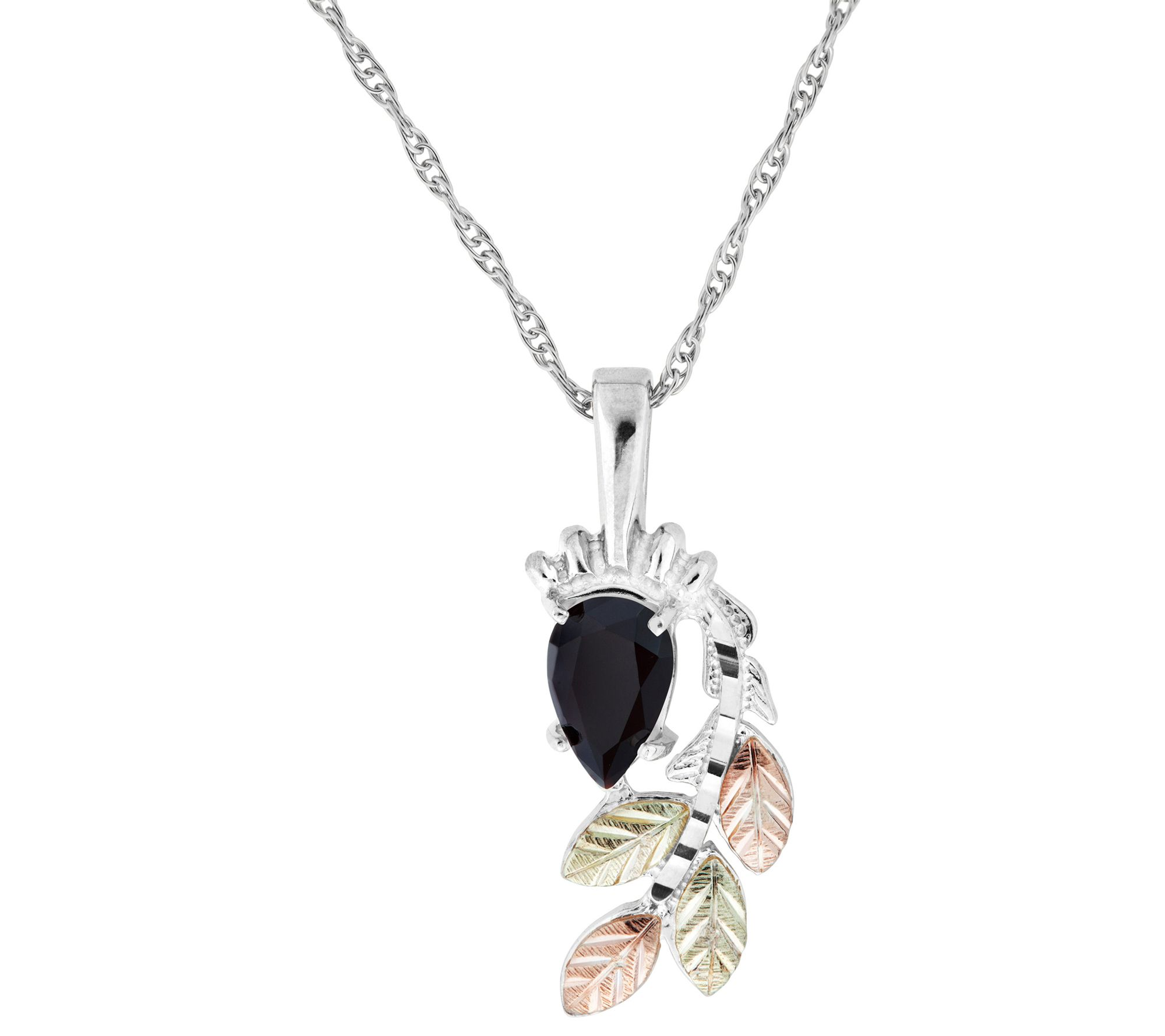 Sterling Silver Black Hills Gold Diamond  Pendant