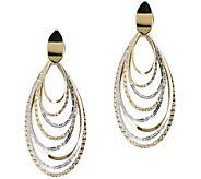 Italian Gold Multi-Textured Two-Tone Dangle Earrings, 14K Gold - J389715