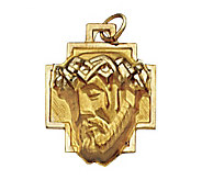 14K Yellow Gold Christ Head Pendant - J108216