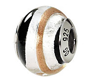Prerogatives Sterling Gold/Black Italian MuranoGlass Bead - J111816