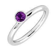 Simply Stacks Sterling 4mm Amethyst Solitaire Stackable Ring - J298716