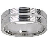 Sterling Rectangular Design Silk Fit Band Ring - J309516