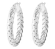 Sterling 1 Polished Woven Design Round Hoop Earrings - J314616