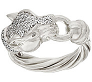 Italian Silver Sterling Diamonique Panther Head Ring - J325216