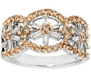 Champagne & White Diamond Floral Sterling Ring, 3/4 cttw, by Affinity - J335116