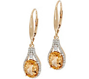 Imperial Topaz & Baguette Diamond Drop Earrings, 14K 2.50 cttw - J350416