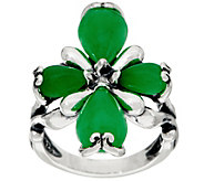 Carolyn Pollack Sterling Silver Jade Cabochon Cross Ring - J350516