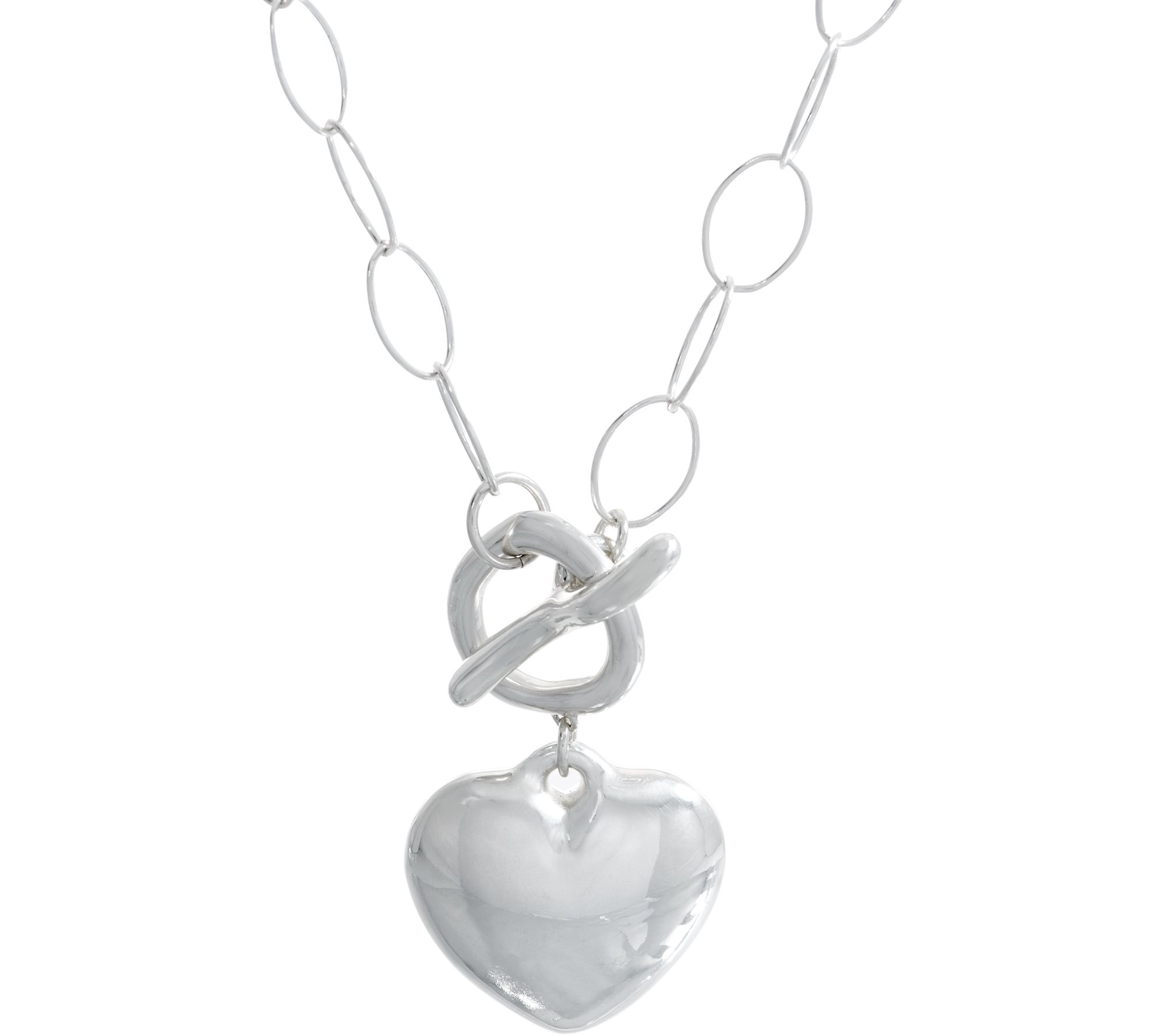 8387bf23608 Simon Sebbag Sterling Silver Puffy Heart Toggle Necklace - Page 1 — QVC.com